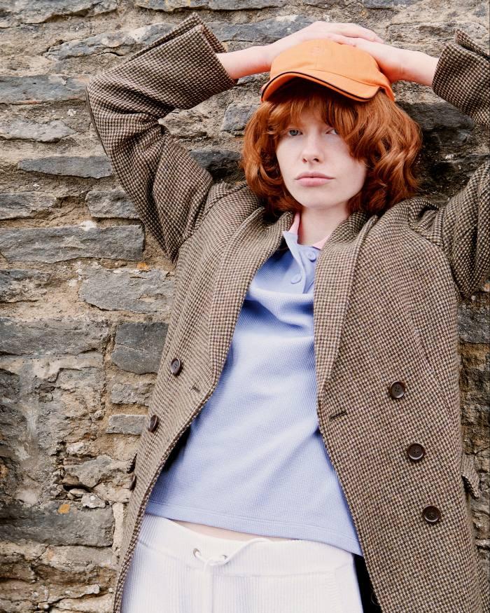 Jacket, Edwina's own. Lacoste cotton T-shirt, £125. Brunello Cucinelli cotton rib-knit trousers, £1,380. Vilebrequin cotton cap, £55