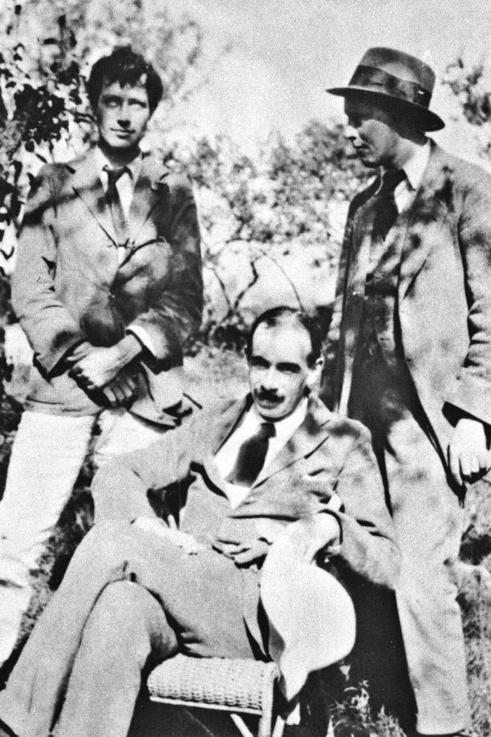 Duncan Grant, left, with John Maynard Keynes and Clive Bell at Charleston in1919.