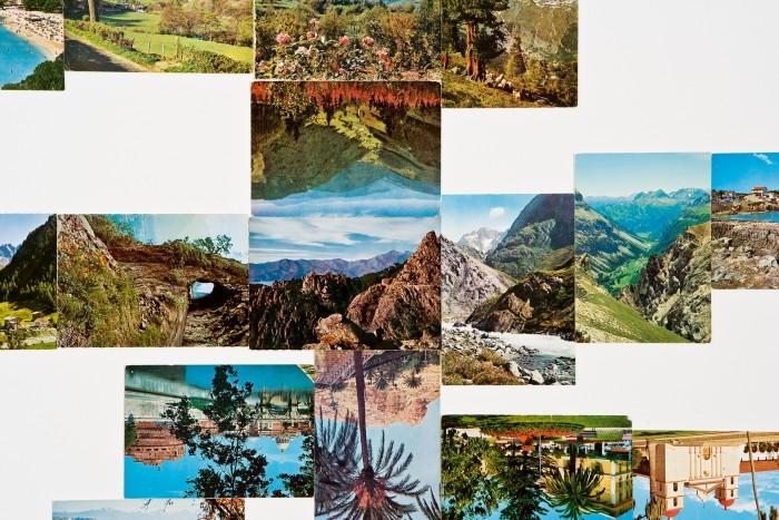Transit #2, vintage postcards, 2005, by Damien Roach