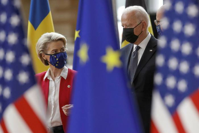 President Biden is welcomed by European Commission president Ursula von der Leyen ahead of the EU-US summit at the European Council in Brussels, Belgium