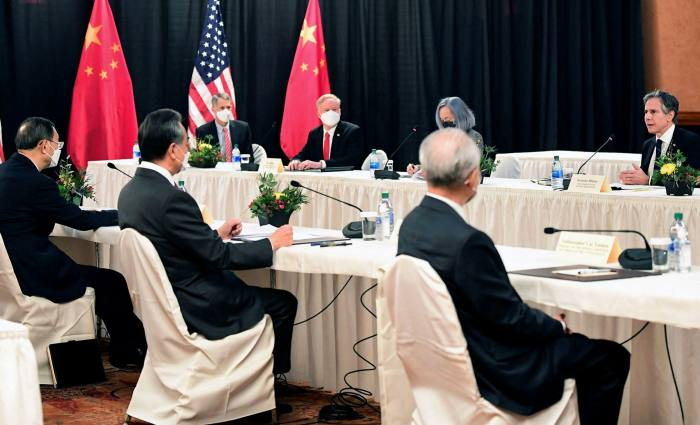 China's top foreign policy official Yang Jiechi is pictured at the Alaska talks last week with US secretary of state Antony Blinken