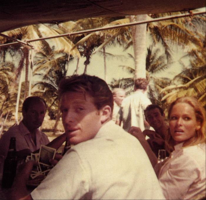 """Blackwell on the set of """"Dr No"""" in Jamaica with Sean Connery and Ursula Andress, 1961"""