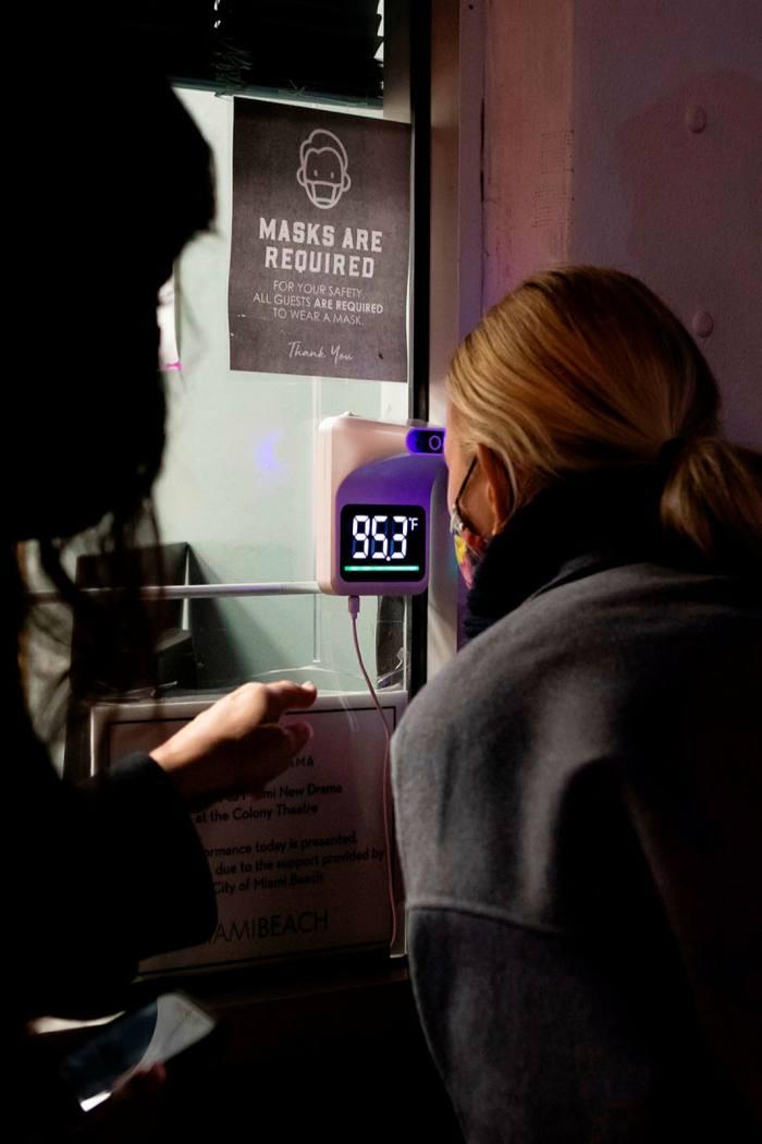 Covid-19 precautions at the box office of the Lincoln Theatre, Miami Beach in December