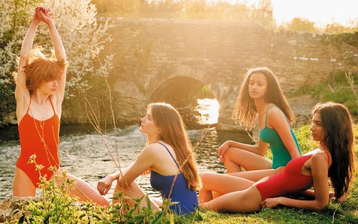 Edwina, Primrose and Megan wear EresSpandex swimsuits, £270 each. Scarlett (far right) wears Eres Spandex swimsuit, £300