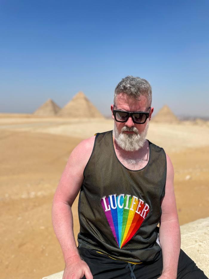 The author at the Pyramids of Giza near Cairo