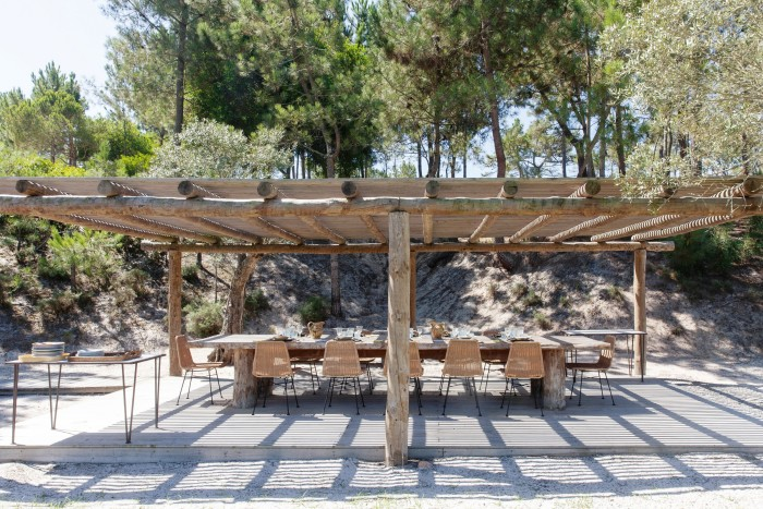 """Grange's outdoor dining area. In Comporta, """"entertaining happens at home"""", says German real-estate developer Dietrich E Rogge"""