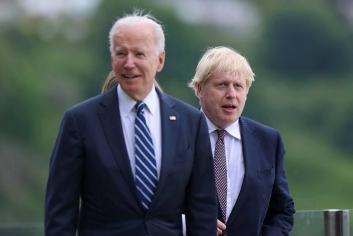 US president Joe Biden and UK prime minister Boris Johnson during their bilateral meeting on Thursday