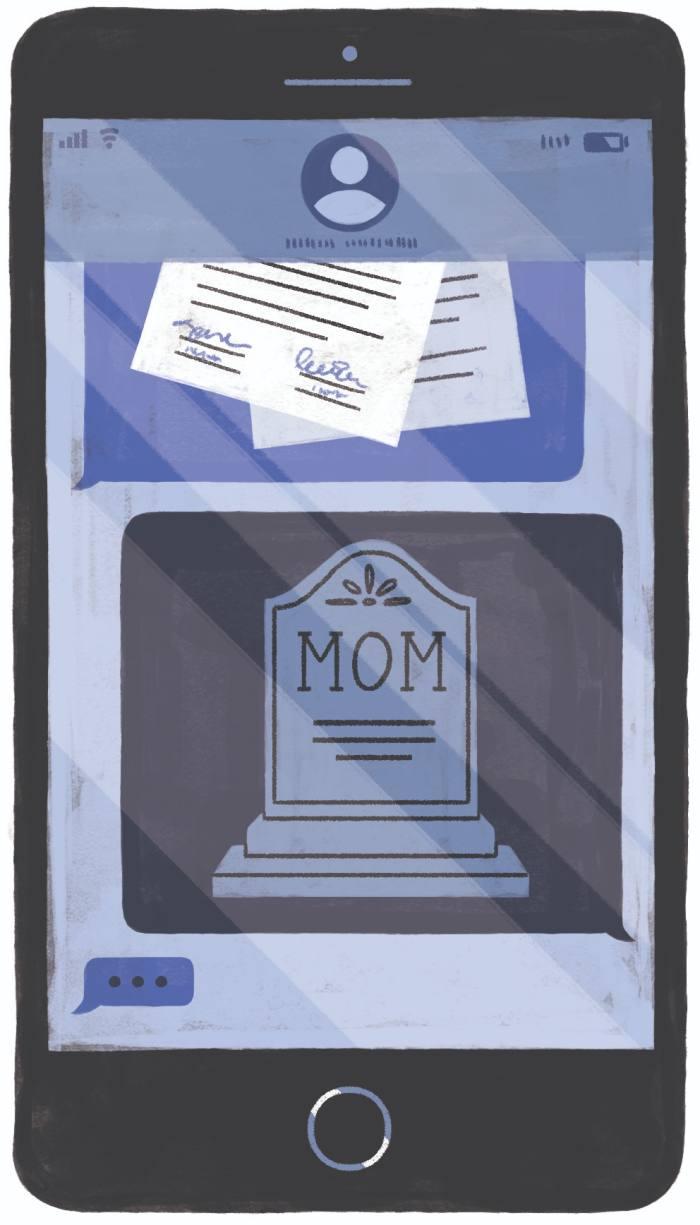 Illustration de souhaits de fin de vie et d'une pierre tombale