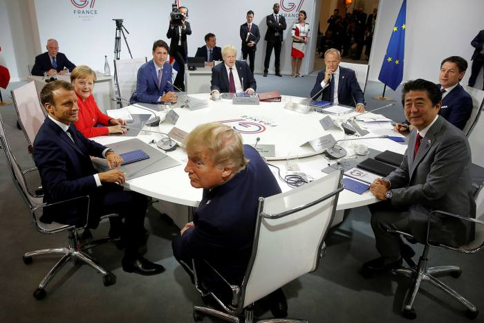 Donald Trump at a G7 meeting in Biarritz in 2019. The then US president got into bitter disputes with the other western leaders over relations with China