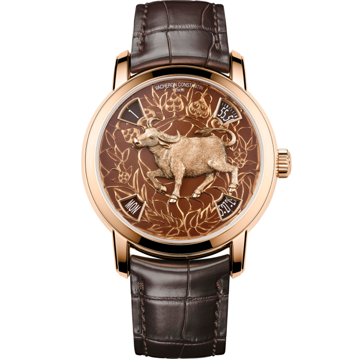 Vacheron Constantin Métiers d'Art the Legend of the Chinese Zodiac – Year of the Ox: pink gold, £107,000. Limited edition of 12