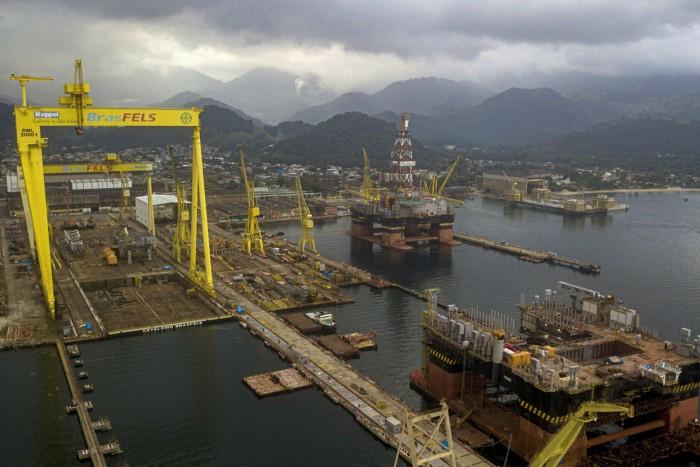 Petrobras oil rigs under construction at the Verolme shipyard near Angra dos Reis, Brazil