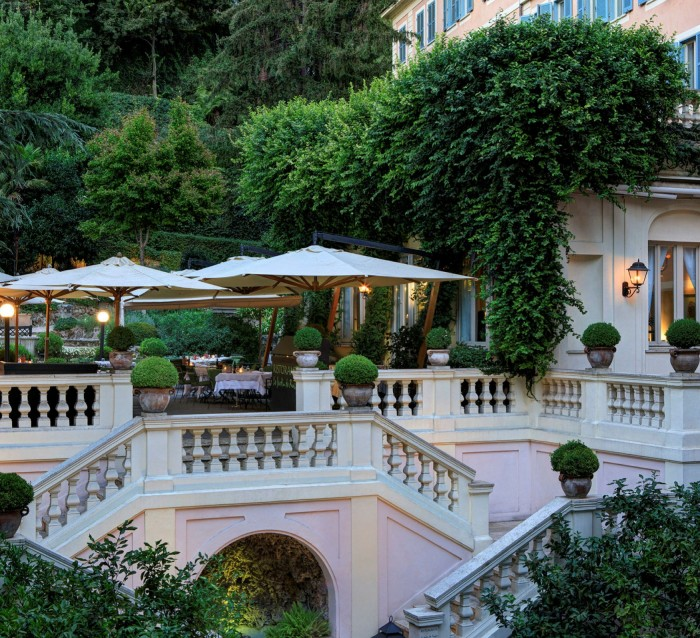 The terrace of the Stravinskij Bar at Rome's Hotel de Russie, which reopened in June