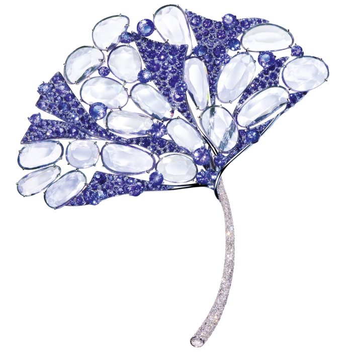 Feng J purple spinel, double rose-cut coloured sapphire, tanzanite, opal, diamond, and18ct-gold coloured ginkgo leaf brooch, POA
