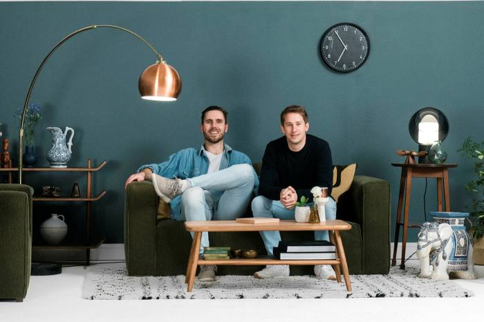 Sam Bradley (left) and Lucas London of the Lick Home paint company, which takes a more class-neutral marketing stance than 'posh' paints