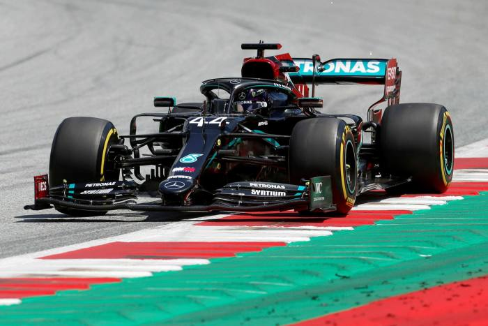 Lewis Hamilton driving his Mercedes car in Austria last weekend. The paintwork has been changed from silver to black as a gesture of support for antiracism protesters