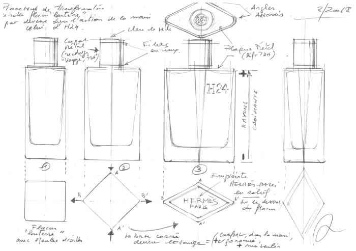 Sketches for the design of the H24 bottle