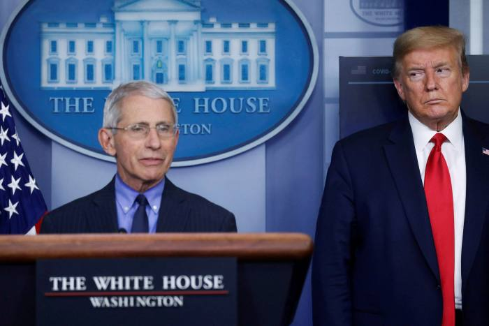 Anthony Fauci, left, has regularly appeared at US president Donald Trump's press briefings and says the evidence does not suggest coronavirus was man-made