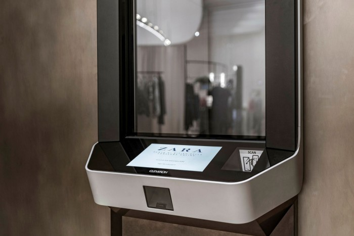 An automated collection point at one of Inditex's stores
