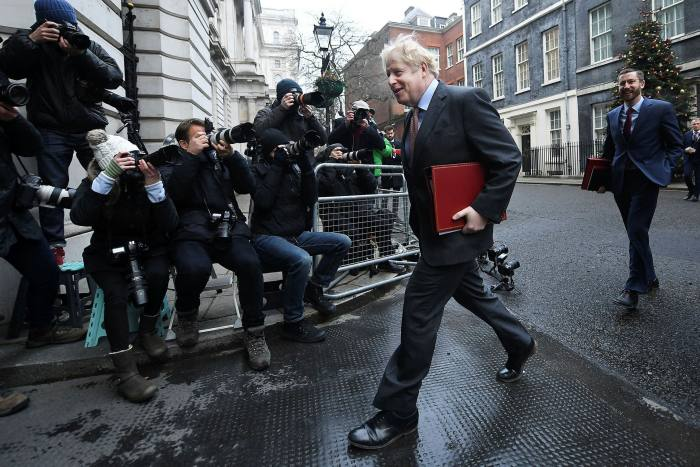 UK prime minister Boris Johnson in Downing Street on Tuesday before heading to Brussels for crucial trade talks
