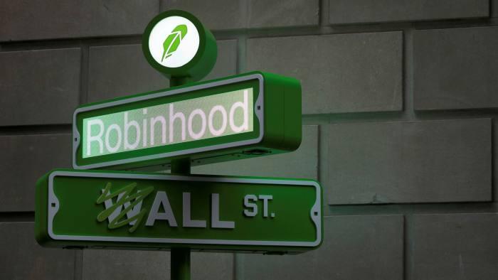 A Robinhood logo placed on New York's Wall Street