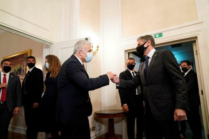 Israeli foreign minister Yair Lapid, left, meets US secretary of state Antony Blinken in Rome, Italy on June 27 2021