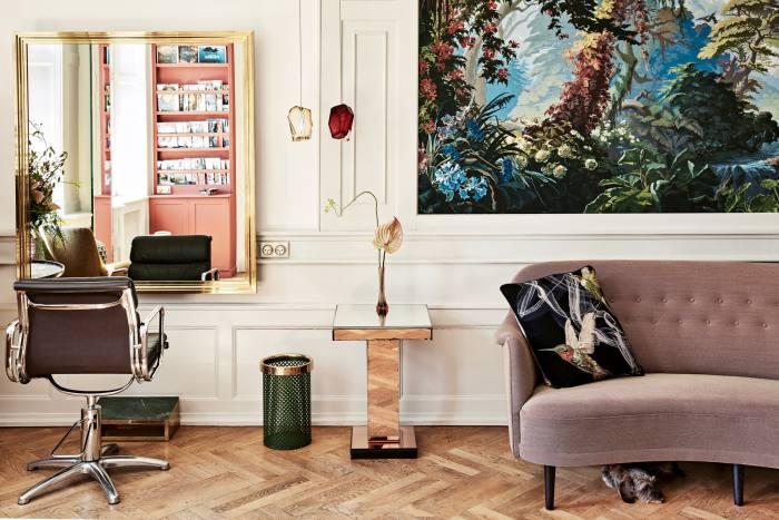 The interior of Studio CimMahony, with salon dog Elvis underthe sofa