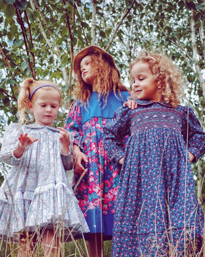 From left, a tunic dresswith twirling skirt, vintage Laura Ashley dress and vintage smock-front dress, all from Wolf & Mabel