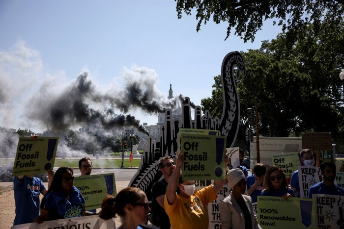 Activists at an 'End Fossil Fuel Subsidies' rally in Washington, DC last month