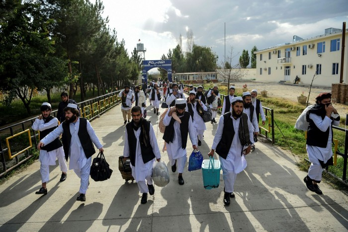 Taliban prisoners in jail on the outskirts of Kabul in July 2020