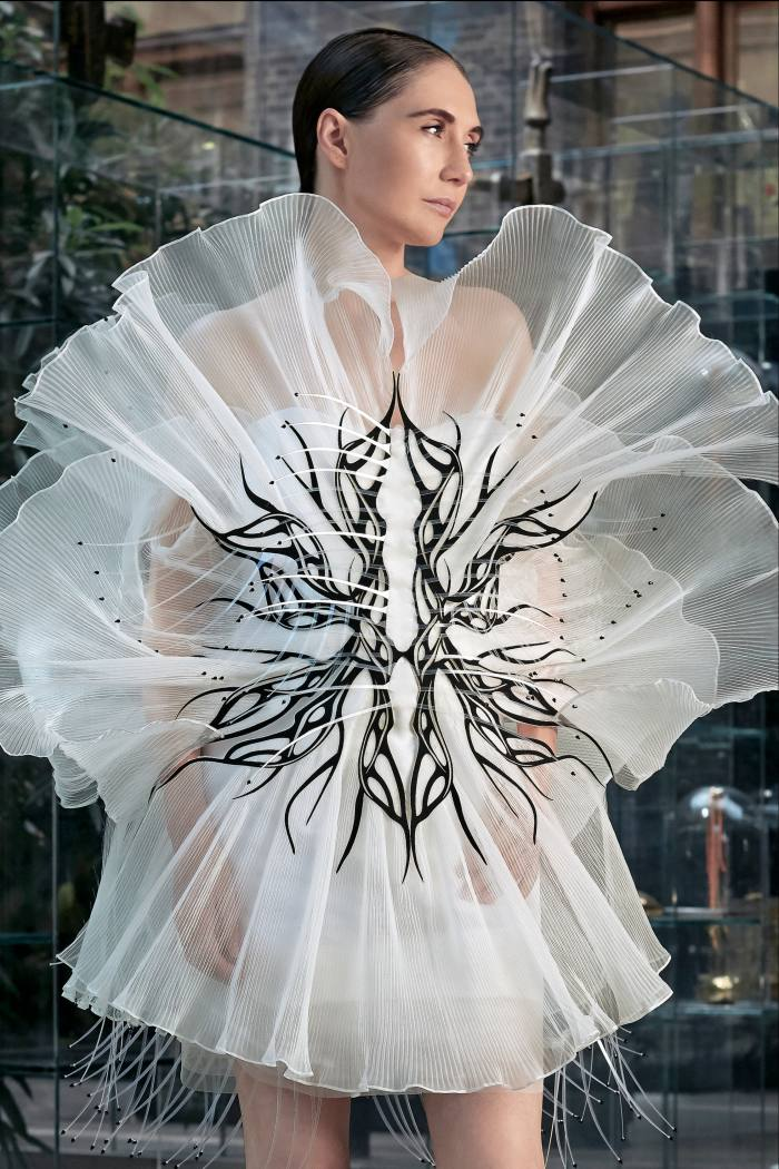 Iris van Herpen delivered a single dress designed to recall the stamen of a flower