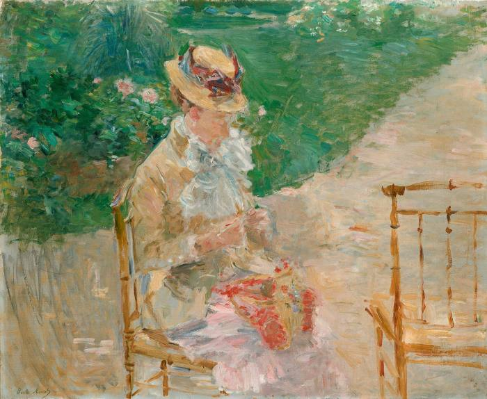 An oil painting in free brush strokes of a young woman in a straw hat and pale dress sitting on a patio in front of a lawn