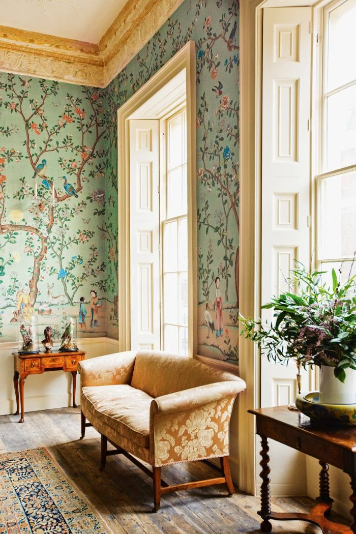 De Gournay Abbotsford Chinoiserie (which is seen in Bridgerton), from £1,508 per 91.5cm-wide panel