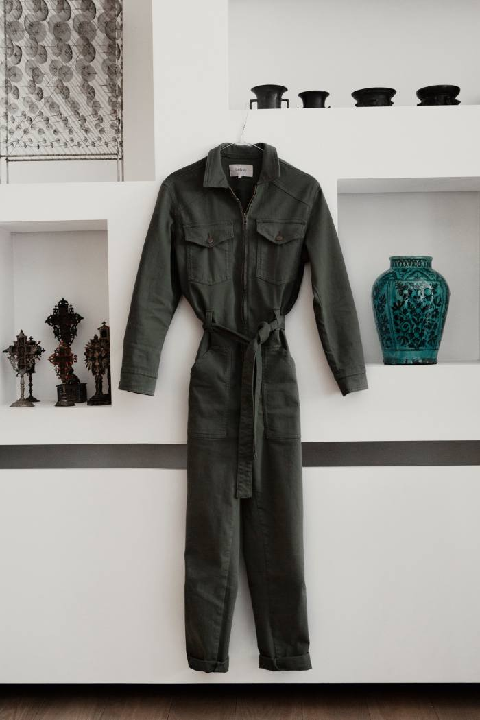 Her latest buy: a khaki jumpsuit by French brand ba&sh