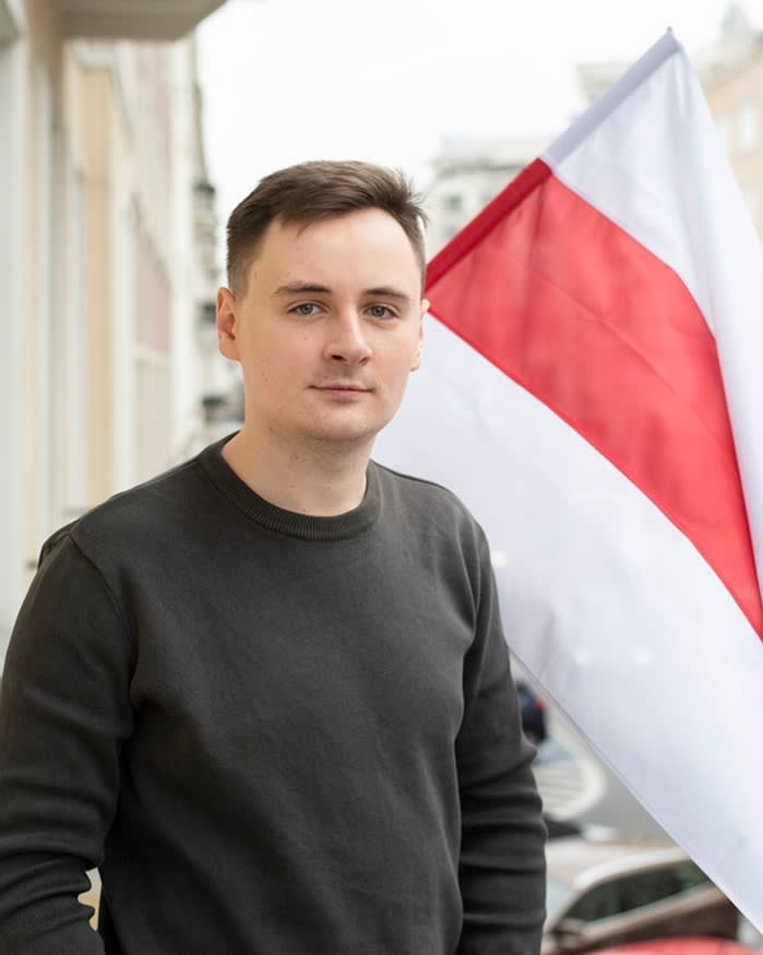 Nexta founder and Belarusian blogger Stsiapan Putsila outside the media group's office in Warsaw