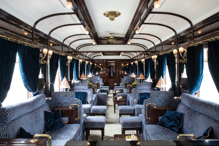 The Venice-Simplon Orient Express's resplendent upholstered bar car