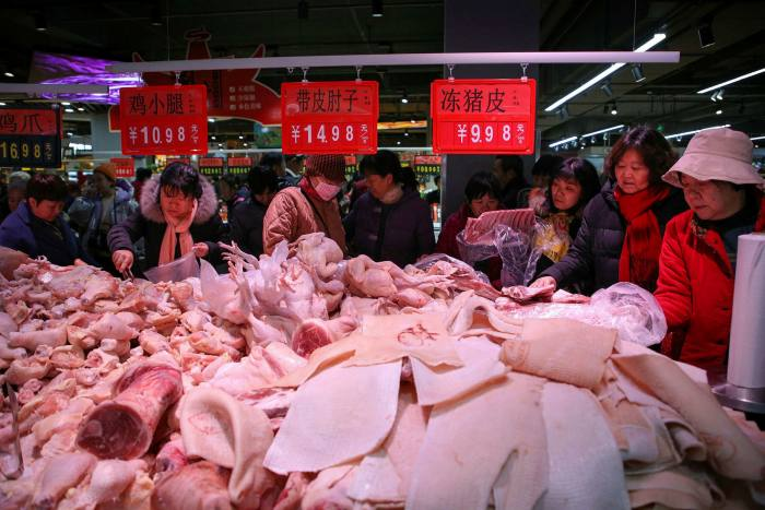 The meat section at a supermarket in Binzhou, Shandong province in China in December