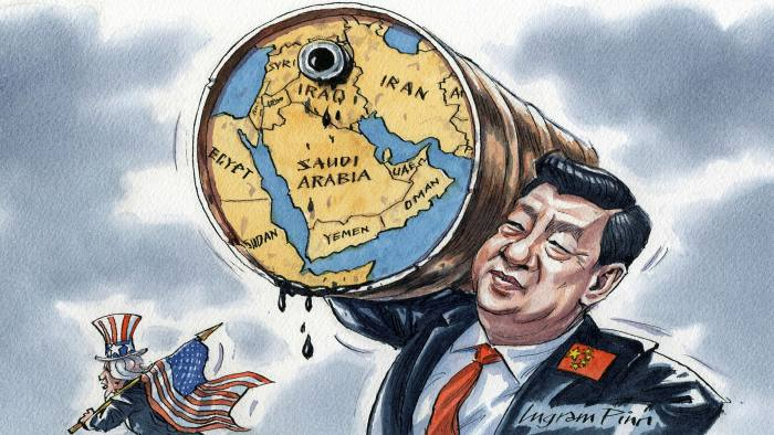 Ingram Pinn illustration of Jamil Anderlini column 'China's Middle East strategy comes at a cost to the US'