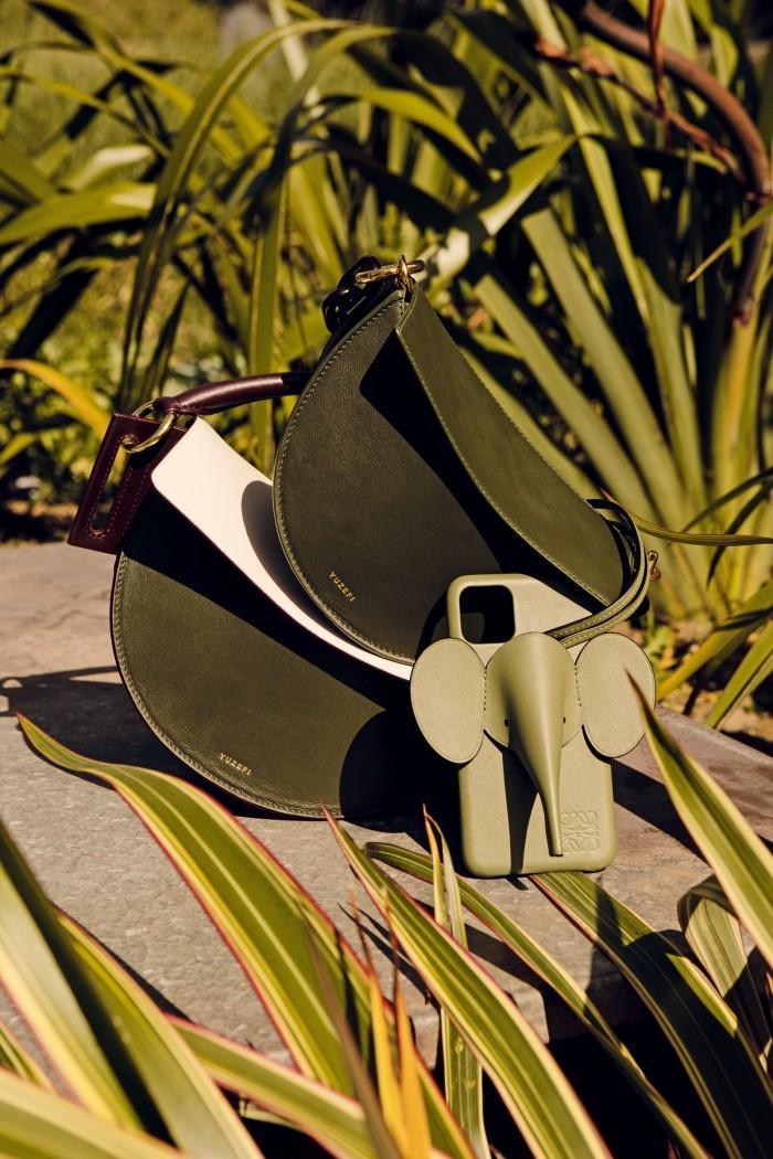 Yuzefi leather Doris bag (top), £445, and leather Dip bag, £525. Loewe calfskin Elephant iPhone cover, £350