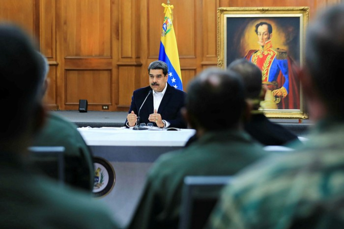 Mr Maduro addresses members of the country's military on Monday