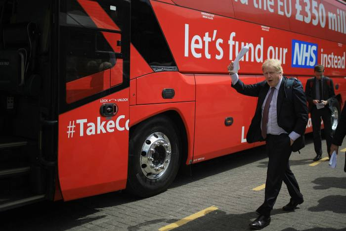 Boris Johnson prepares to board the Brexit battle bus for the Vote Leave campaign in 2016 ahead of the referendum on leaving the EU