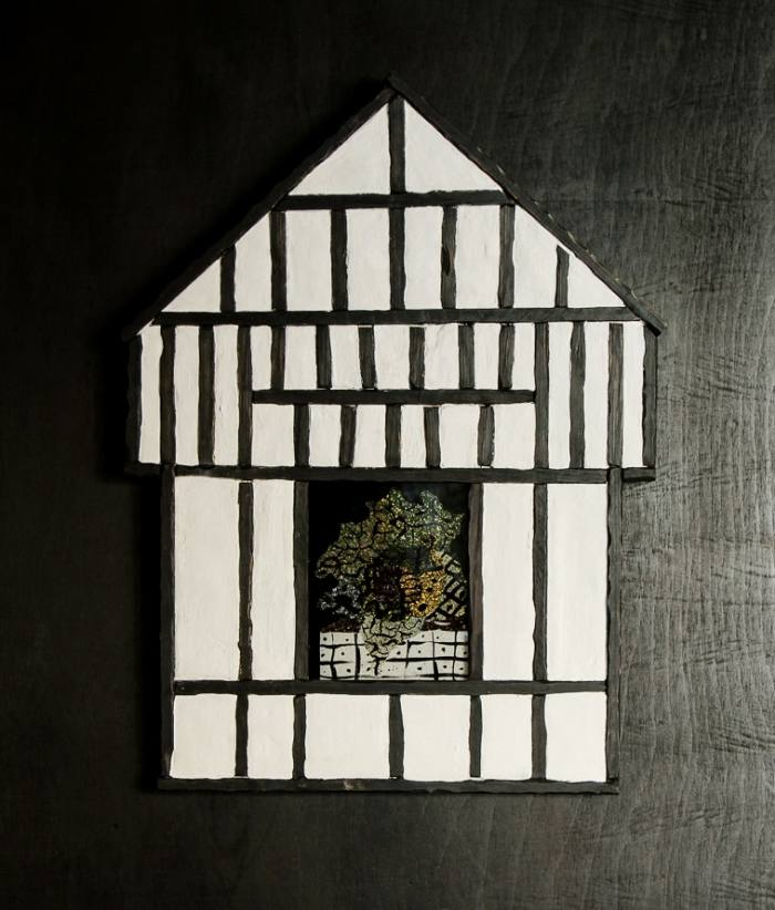 Cabbage Solar, by Aaron Angell, in its Tudor doll's-house frame by Frame London
