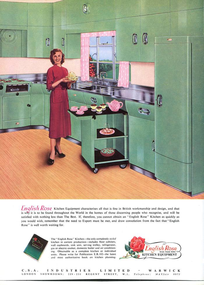 Advertisement For English Rose Kitchen Equipment Featuring A Young Housewife with A Tea Trolley and A Selection of Desserts Cakes and Tea