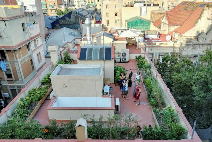A communal rooftop garden in Barcelona