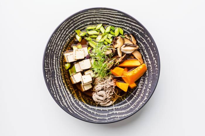 Vegetable ramenin the restaurant