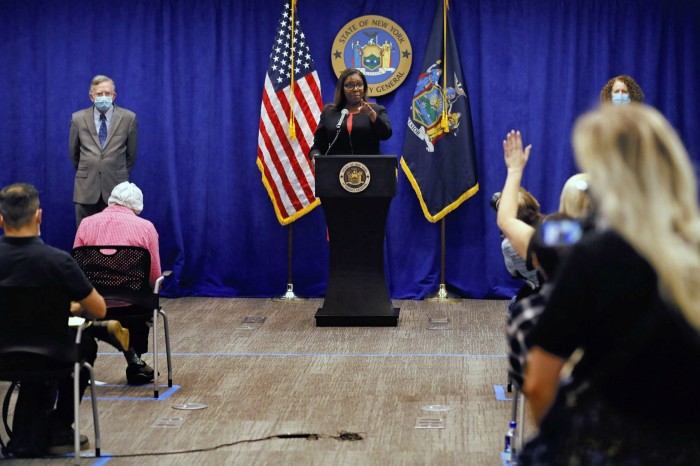 Letitia James, New York attorney-general at a press conference, in August