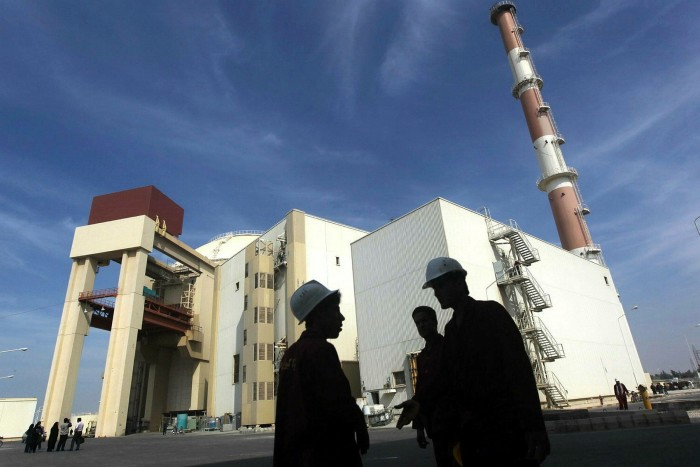 The reactor building at the Russian-built Bushehr nuclear power plant in southern Iran, 1,200km south of Tehran
