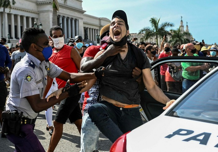 A man is arrested in Havana during the demonstrations. The communist government is facing a major challenge to its authority for the first time without a Castro in charge