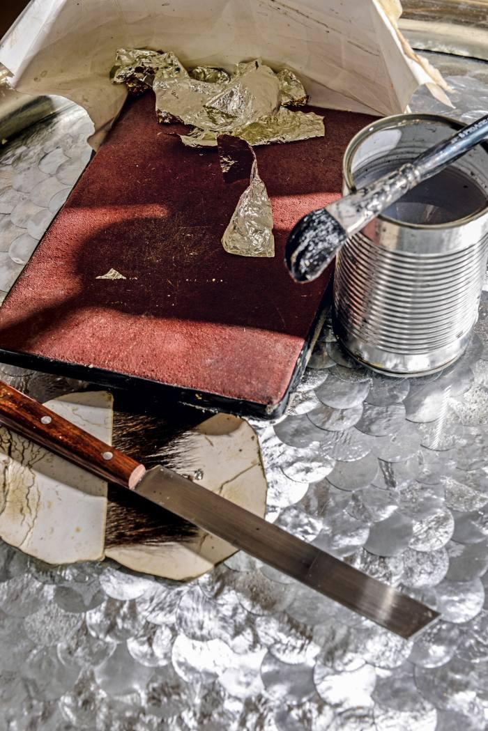 Gilding materials in Sean Phelan's studio