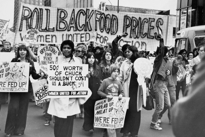 Demonstrators in New York in 1973 protest against rising food prices. Some Republicans have harked back to the 1970s stagflation years to paint an alarming picture of the economic environment that will unfold under Joe Biden