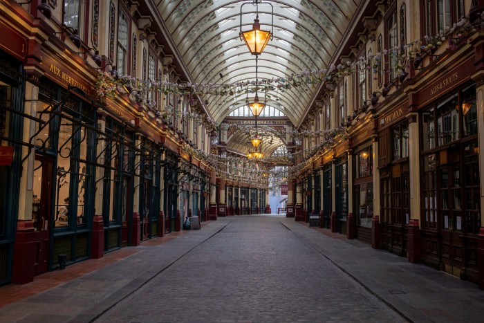 A deserted Leadenhall Market in the City of London in 2020